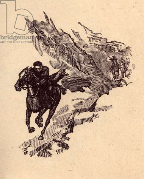 """Illustration from """"Mountains and People"""" by Yury Libedinsky, 1947 (woodcut)"""