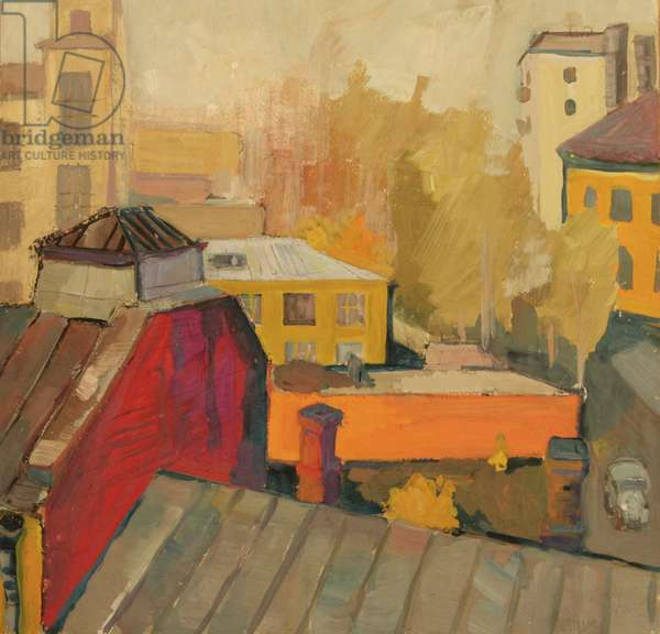 Moscow Roofs, View from the Moscow Textile Institute, 1969 (tempera on paper)