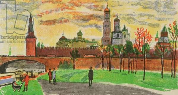 The Moscow Kremlin, 1970s (colour litho)