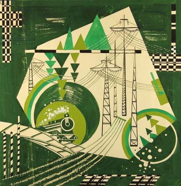 The BAM (Baikal-Amur Mainline) Railroad Line.Design sketch for a scarf, 1974 (gouache on paper)