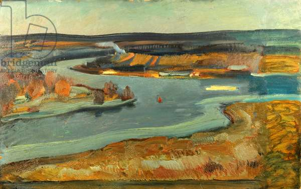 The River Moskva, 1976 (oil on card)