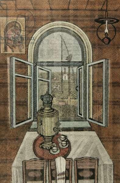 A Warm House, 2000 (linocut & w/c on paper)
