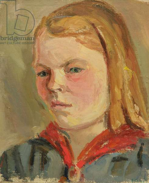 Girl with Red Scarf, 1930s (oil on canvas)
