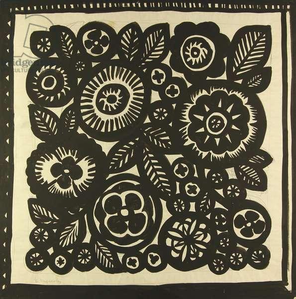 Textile Design - Sketch for Scarf, 1960s (tempera on paper)