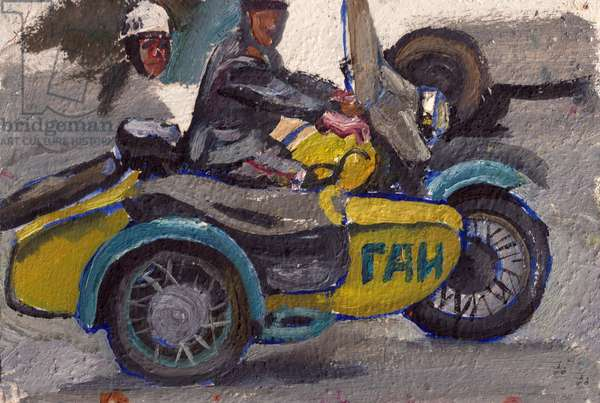 Traffic Police on a Motorcycle, Moscow, 1971 (oil on card)