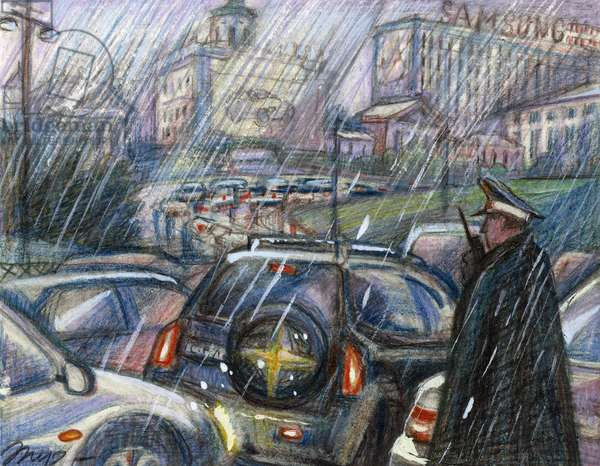 Moscow Traffic Jam, 2008 (coloured pencil on paper)