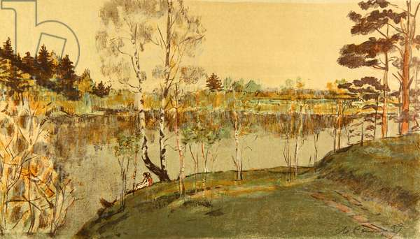 On the Msta River, 1959 (colour litho)