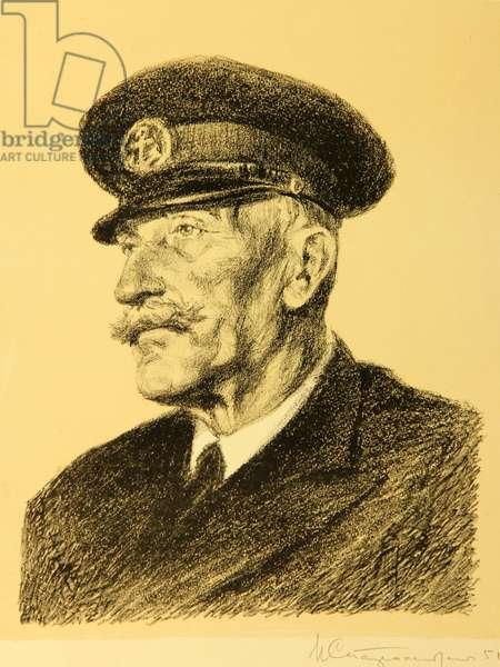"Captain of Craneship ""Ukraine"" L. Dmitrienko. Port of Odessa, 1951 (lithograph)"
