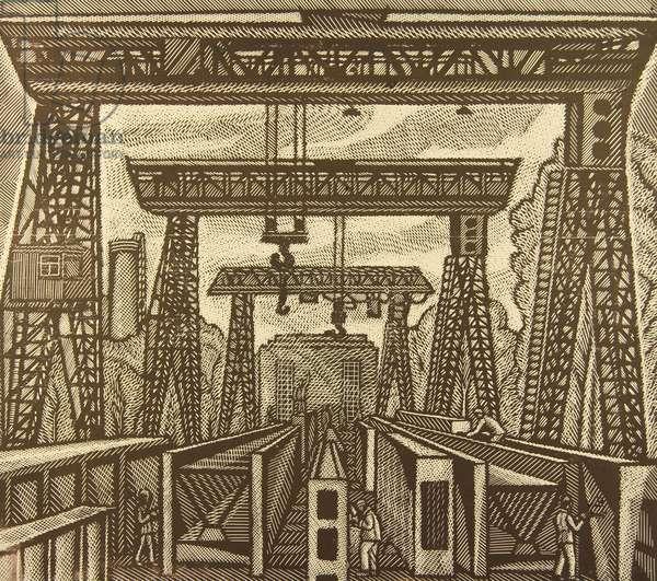 Bridge Components, 1978 (linocut)