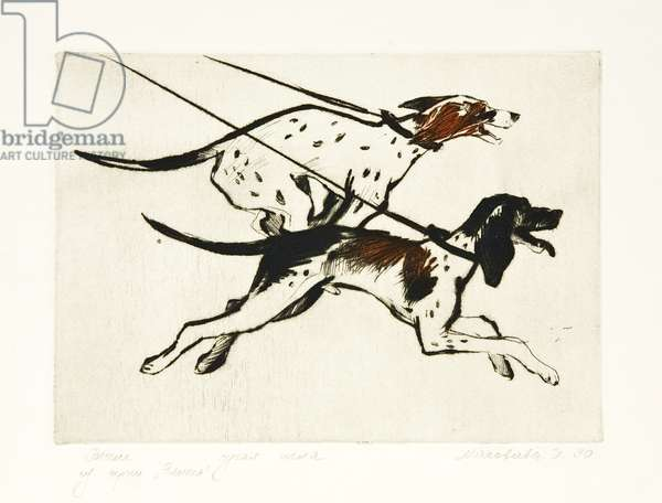 Hounds, 1990 (drypoint)