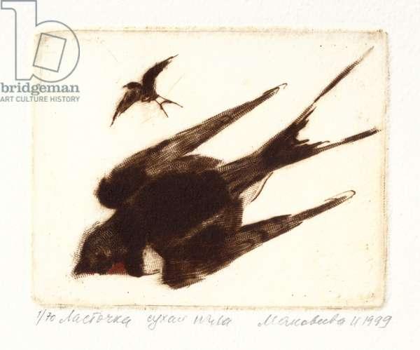 Swallow (Hirundinidae), 1999 (drypoint)
