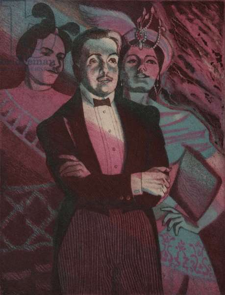 Serge Diaghilev, Ballet Russes, 1988 (colour etching)