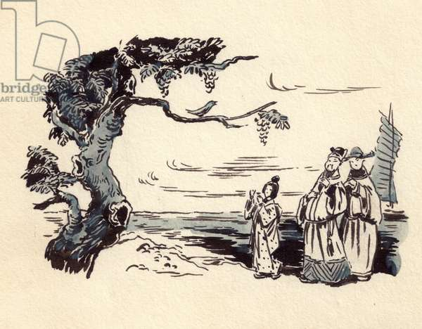 Illustration from 'The Nightingale' by Hans Christian Andersen, 1843 (watercolour on paper)
