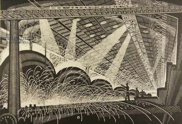 The Welding Workshop, 1963 (linocut)
