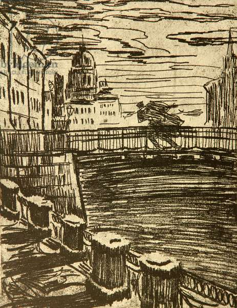 Evening on the Bridge, illustration to Fyodor Dostoyevsky's novel 'The Adolescent' (1875), 1971 (etching)