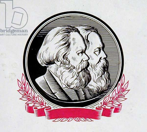 Karl Marx and Friedrich Engels, 1960 (indian ink, gouache on paper)