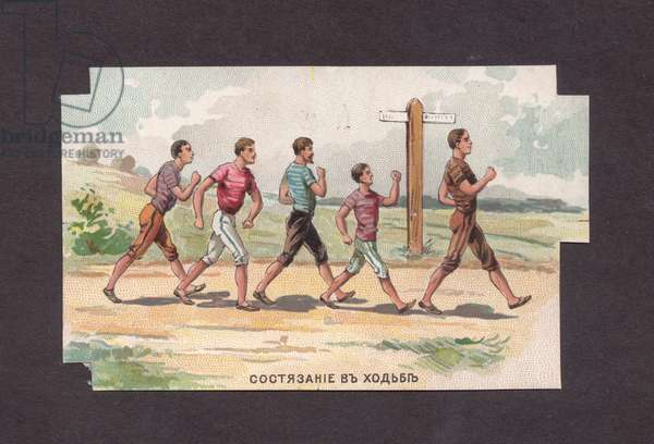 """Label for Chocolate Bar """"Sports and Games"""", Race Walk, 1900s (colour litho)"""