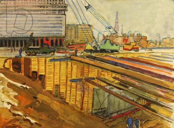 Building the Metro, 1981 (tempera on paper)