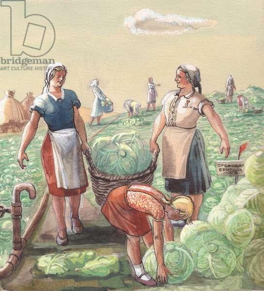 Cabbage Harvest, illustration for 'Summer in the Kolkhoz', 1950s (gouache on paper)