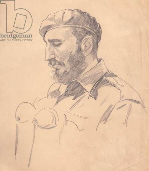 Fidel Castro during a Speech, 1962 (pencil on paper)