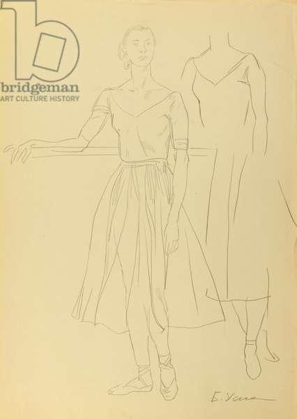 Ballerina Raisa Struchkova, 1972 (pencil on paper)
