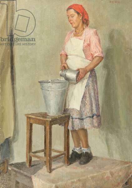 Set Piece with Milk Maid (oil on canvas)