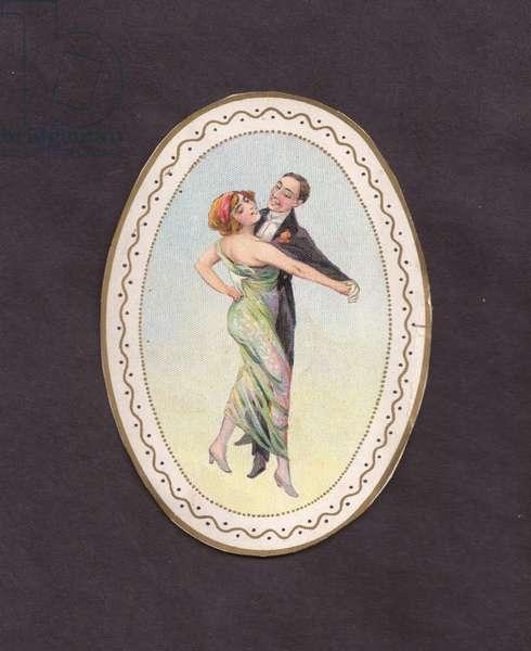Couple dancing, 1900s (colour litho)