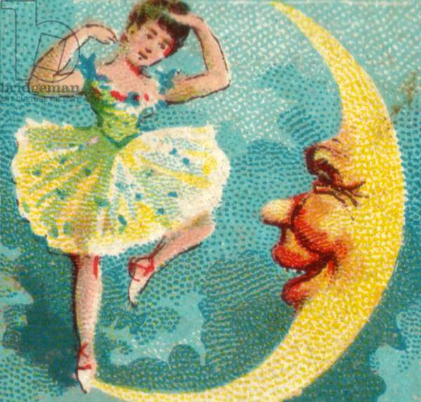 Character with crescent moon, 1900s (colour litho)