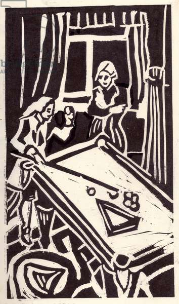 Illustration from 'The Captain's Daughter' by Alexander Pushkin, 1836,  1978 (linocut)