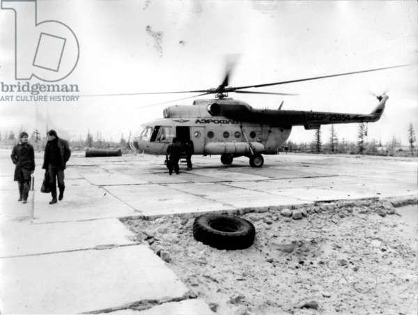 Workmen Helicoptered In, 1977 (b/w photo)