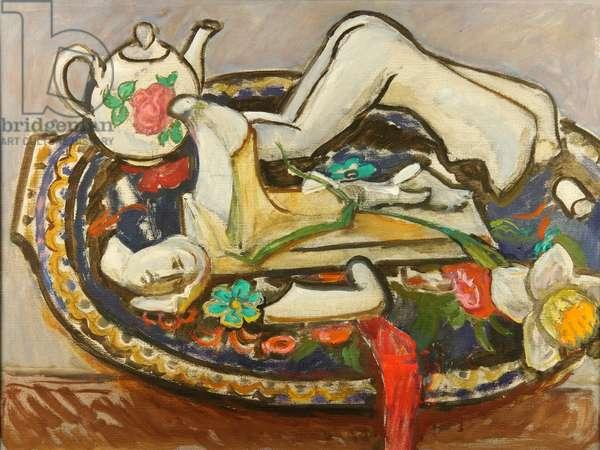 Still Life with Broken Figurine, 1995 (oil on canvas)