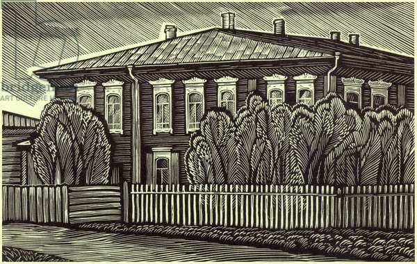 Krasnoyarsk, the Library where Lenin worked, 1969 (linocut)