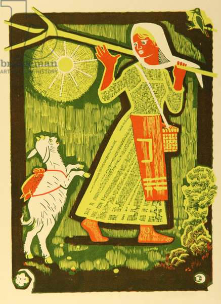 Brother Ivanushka and Sister Alyonushka, Illustration to a Russian Fairytale, 1969 (colour litho)