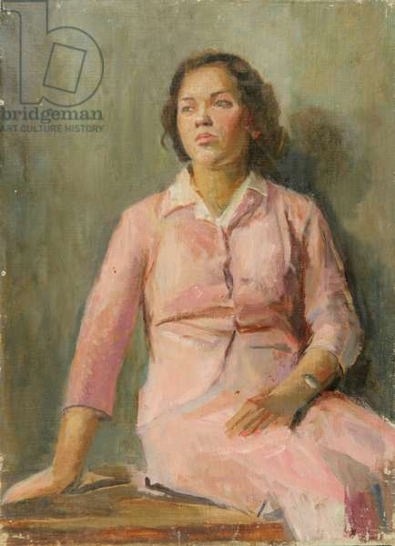 Girl in Pink Dress, 1940s (oil on canvas)