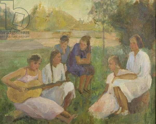 Picnic at Yasnaya Polyana, 1920s (oil on canvas)