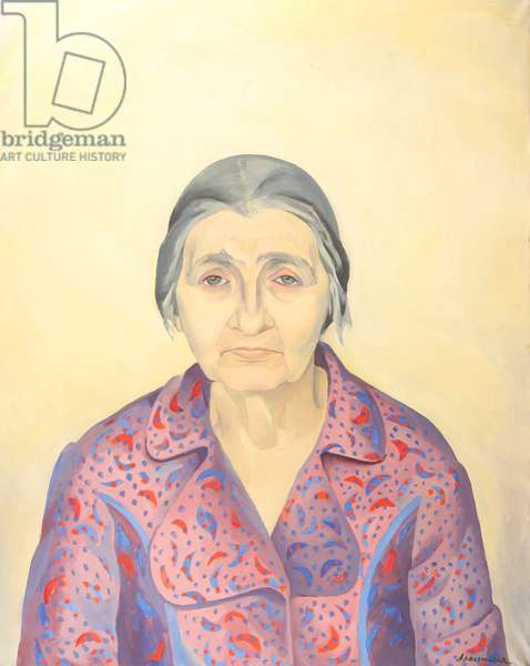 Portrait of Old Woman, 1970s (tempera on paper)