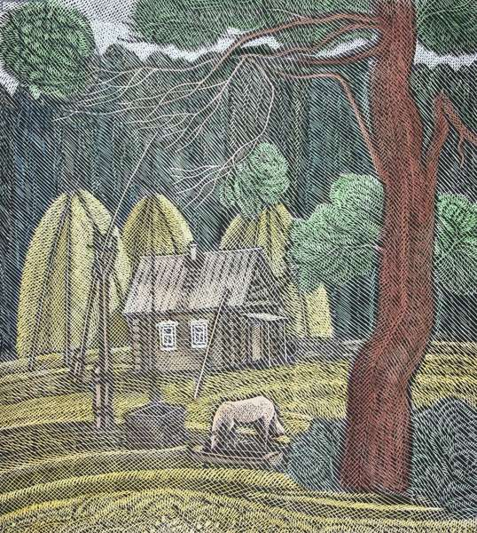 Spring, 1981 (linocut and w/c on paper)