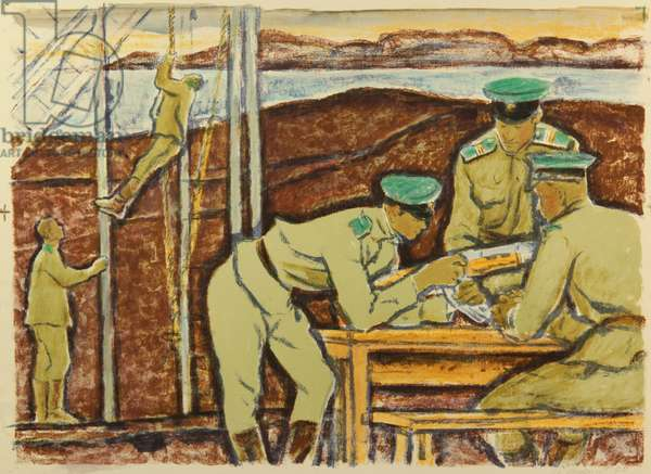 At Training - the Border Guards in Kamchatka, 1978 (monotype)