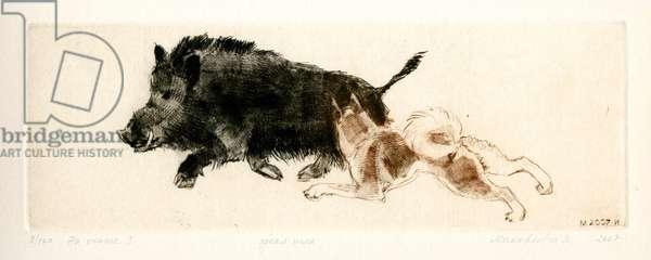 Dog at Hunt for Wild Boar, 2007 (drypoint)