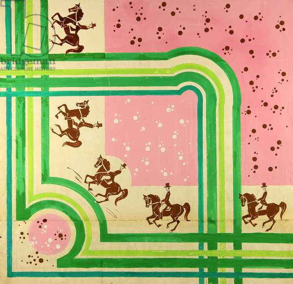 Equestrian at the Summer Olympics. Design sketch for a scarf, 1979 (gouache on paper)