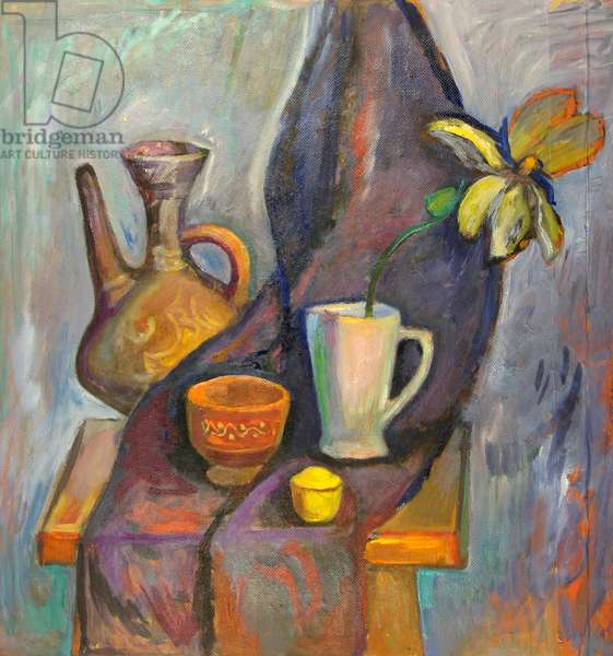 Still Life with Flower and Pottery on Table, 1978 (oil on hardboard)