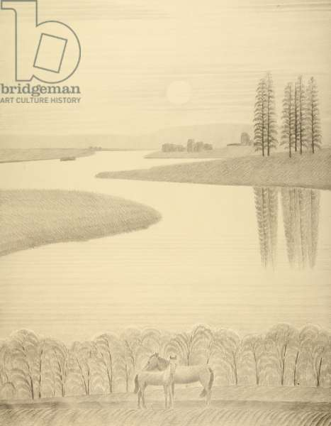 Horses by the River, c.1970s (pencil on paper)
