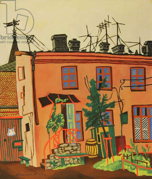 Town Yard in the Town of Tallinn, 1975 (tempera on paper)