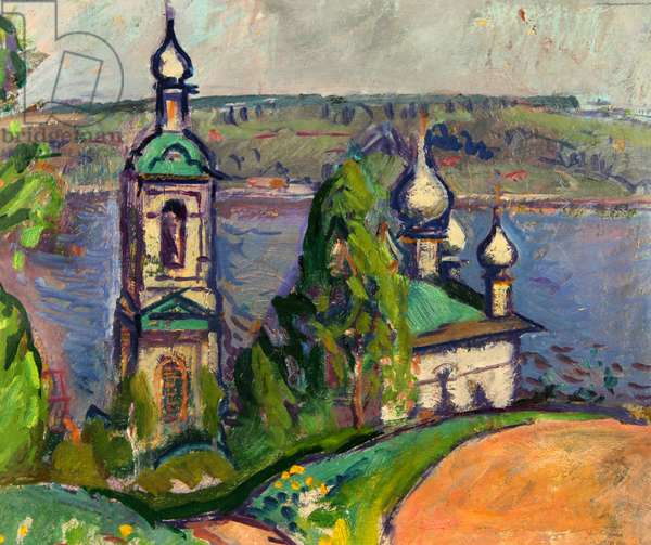 Church by the River, 1968 (oil on card)