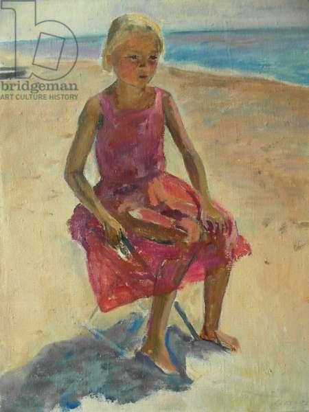 Girl on the Beach, 1940s (oil on canvas)