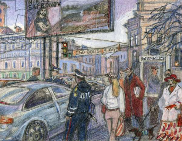 No Parking, 2008 (coloured pencil on paper)