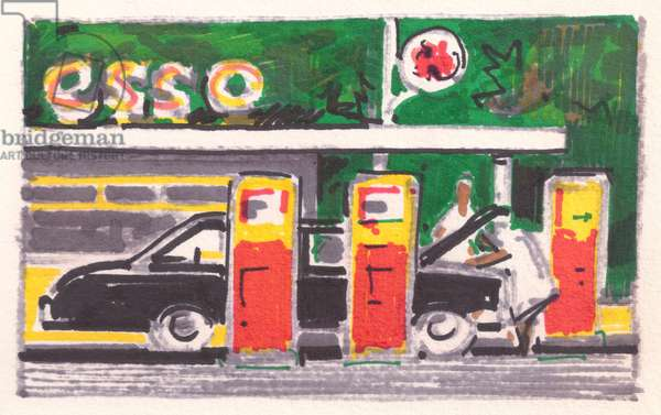 Esso Petrol Station in Sri Lanka (felt-tip pen on paper)