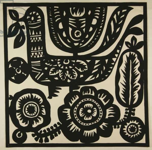 Birds, textile design, c.1960 (tempera on paper)