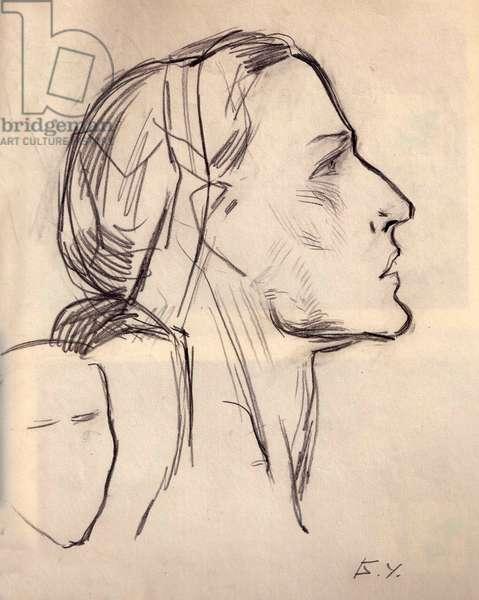 Prima Ballerina Assoluta Maya Plisetskaya, 1975 (pencil on paper)