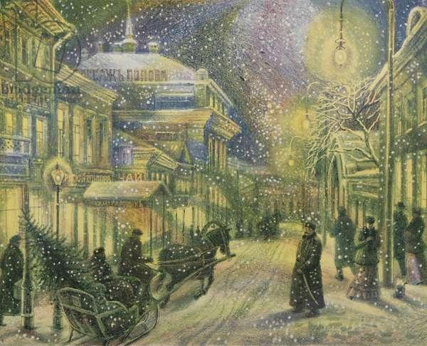 Kuznetsky Most at Christmas, 2008 (colour litho)